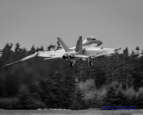 A Lady Growler Student Pilot Pulls Away from OLF in Greyscale