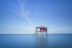 My Little House II (zakies) Tags: longexposure travel pink blue house travelling nature horizontal standing morninglight fisherman asia alone bluesky calm single malaysia tranquil lanscape singleexposure sabahborneo nikond700 sabahsunset zakiesphotography sabahsunrise sabahlanscape