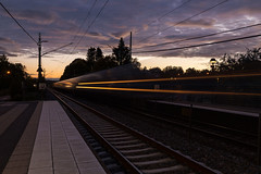 Ghost Train (diesmali) Tags: lerum sweden vstragtaland stenkullen train station platform movement lights dusk longexposure canoneos6d canonef24105mmf4lisusm