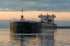 16-7407 (George Hamlin) Tags: minnesota duluth ship boat american integrity laker self unloader predawn sky clouds water harbor port reflection photo decor george hamlin photography