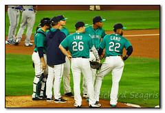 Meeting on the Mound (seagr112) Tags: seattle seattlemariners washington torontobluejays safecofield baseball baseballgame robinsoncano adamlind