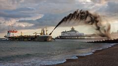 Under The Rainbow . (insomniac2008 .) Tags: elements eastbourne eastsussex ship pier sospandau dredgerr sea beach clouds rainbow