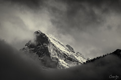 One of the Three Sisters (Chris Shanks) Tags: three sisters rockies rocky mountains banff canmore alberta photography landscape lightroom bw monochrome sunset light mountain