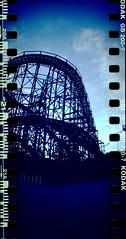 Linnanmki, wooden roller coaster (Sanha Matas) Tags: sprocketrocket sprockets film helsinki kodakgold iso200 lomography