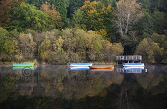 Boats - Autumnal Tranquility - Loch Lomond - Scotland (Magdalen Green Photography) Tags: boats zencalm pretty autumn autumnaltranquility reflections lochlomond magdalengreenphotography scotland scottishscenes 2919 trees