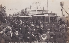 Opening day of new electric tramways, Elsternwick, Melbourne - 13 November 1913 (Aussie~mobs) Tags: melbourne victoria australia elsternwick 1913 newelectrictram openingday crowd celebration