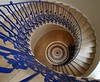 The Tulip Stairs, Queen's House (shadow_in_the_water) Tags: tulipstair staircase spiralstairs parquetry blue fleurdelis inigojones wroughtiron balusters queenshouse romneyroad greenwich london se10 bourbonemblem tulipstairs wendeltreppen