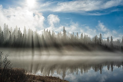 Fog and Rays (Jim.J.H) Tags: morning sunrays rabbitblanketlake ontario water reflections sky fog lake sun lakesuperiorprovincialpark clouds