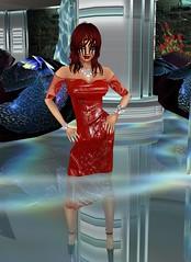 Soaking Wet in Red (SoakinJo) Tags: red imvu wetlook wetclothes wetdress highheels extremeheels