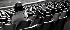 The lone supporter. (rvrossel) Tags: sports supporter white bnw blacknwhite fujixt10 helios44m