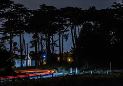 merchant road reversal (pbo31) Tags: sanfrancisco california nikon d810 november 2016 fall city bayarea boury pbo31 color night dark black goldengatebridge presidio lightstream traffic motion silhouette