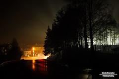 Bistringburg Strae (Boris Georgiev) Tags: night fog lights red yellow white street road football field
