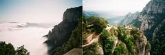 Montserrat (.grux.) Tags: minolta af50bigfinder 27mmlens film agfavistaplus200 view clouds mountains valley sky diptych montserrat spain