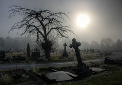Manchester Road cemetery 02 HD nov 16 (Shaun the grime lover) Tags: cemetery graveyard manchesterroad cheshire frost frozen cold mist sunshine sun gravestone tombstone grave hdr warrington memorial winter