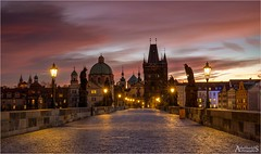 Charles Bridge, Prague, Czech Republic (explored) (AdelheidS photography) Tags: czechrepublic tsjechië praag prague adelheidsmitt adelheidsphotography city capital easterneurope adelheidspictures praha bridge brug puente charlesbridge medieval skyline sunrise bluehour