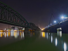 Steyregger Bruecken v2 (Wolfgang Hackl) Tags: water waterfront nightscape lights street railway industry reflections