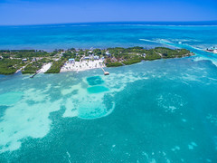 Aerial view of the island Caye Caulker, Belize to the north of the Split