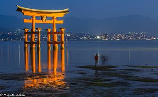 El gran Tori de Miyajima a la badia de Hiroshima