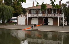 Getting his single scull into the River Cam (Beth Hartle Photographs2013) Tags: cambridge river lock cam weir rivercam boathouses narrowboats