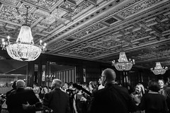 At the Wedding (tim.perdue) Tags: wedding reception party band stage street candid black white bw monochrome athletic club crowd ceiling chandelier ornate people monovember 2016 monovember2016