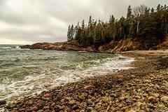 Rocky Beach (Carlos L. Yordan) Tags: park travel autumn usa beach me clouds canon sand rocks surf maine newengland rocky stormy boulders granite traveling acadia mountdesertisland mdi 6d acadianationalpark gulfofmaine 24105mm eflens 24105mml ef24105mm canon6d
