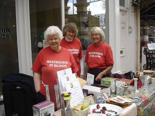 Table Top Sale by Westbourne in Bloom in Westbourne Arcade May 2013 by Winnie Thomas (from left to right Winnie Thomas, Averil Baldwin, Maureen Rouse)