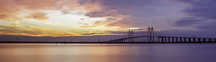 Sunset Past The Fred Hartman Bridge 2 (Mabry Campbell (2nd Account)) Tags: longexposure bridge blue sunset red panorama usa seascape architecture digital photography us photo texas photographer unitedstates image suspension baytown tx pano january houston august 100mm photograph le 400 fineartphotography f40 2014 architecturalphotography fredhartman commercialphotography fredhartmanbridge houstonshipchannel harriscounty 2013 architecturephotography fineartphotographer houstonphotographer sec ef100mmf28lmacroisusm mabrycampbell august272014 suspersionbridge 20140827h6a8114
