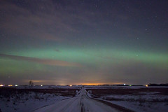 Lights on the Prarie (theskyhawker) Tags: road winter usa snow cold night photography lights united north grand dirt aurora states northern forks dakota desolation borealis