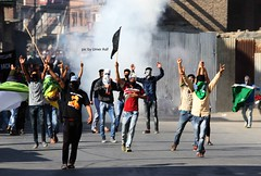 (Umer Asif.) Tags: masked kashmiri muslim protesters shout profreedom slogans indian police