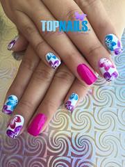 Acrylic Nails French and designs flowery painted freehand (topnails.chile) Tags: nails nailart nailsart nail uas uasdecoradas uasacrlicas uasgel artnail artnails topnails topnailscl swarovski acrlicas acrylic glitter glam uoa enamel french unasacrilicas acrylicnails nailspolish nailswang nailsdesing nailstyle