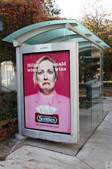 Poking fun at American presidential election (Can Pac Swire) Tags: toronto ontario canada canadian aimg5452 advertisement board ttc transit tram streetcar stop shelter kingstreeteast sumach street hilaryclinton donaldtrump hilary trump donald clinton fun poke poking tissue paper scotties us american presidential election 2016