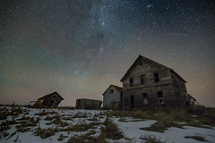 Over The Lake House (gerrypocha) Tags: milky stars sky night heavens abandoned derelict prairie house