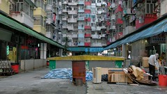 """"""" ... from the bottom of the well"""" (hugo poon - one day in my life) Tags: xt2 23mmf2 hongkong quarrybay yickfatbuilding yickcheongbuilding kornville concretejungle lookingup sky buildingcomplex architecture 70s video"""