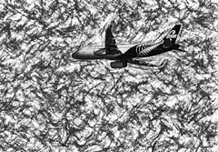 Turbulence (Steve Taylor (Photography)) Tags: turbulence airnewzealand art digital design logo monochrome blackandwhite monotone stark contrast newzealand nz southisland canterbury christchurch texture plane aeroplane aircraft weather stormy