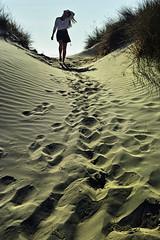 Balade sur le sable (Elsephir) Tags: sand sable plage balade traces pas perspective