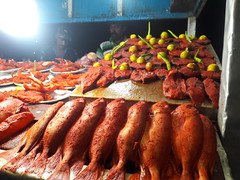 Indian Sea food  (nitishsahumohan) Tags: sea food seafood night evening red orange brightcolors colorshades stall fishfry fish delicious bayofbengal tamilnadu chennai beach marinabeach redchili photography amazing beautiful lights