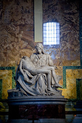 The Pieta - sculpture by Michelangelo Buonarroti, Vatican (chrisdingsdale) Tags: pieta masterpiece sculpture renaissance michelangelo buonarroti stpeters st peter vatican italy rome indoor ancient old medieval historical saint pietro basilica museum antique roman catholic catholical christianity stone marble cathedral statue jesus mother mary crucifixion interior monument capital church papa papal attic relief pigeon dove spirit symbol branch olive emblem papacy peace