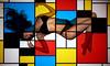 Nod to Mondrian (Randy Poe) Tags: mondrian tribute art model hot babe color hait figure legs black lingere projector colorado springs madison flowers randy poe hair