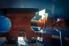 Gripping stuff, Backlit (jamesallen9) Tags: backlit macro macromondays vice smoke red tool small backlight workshop