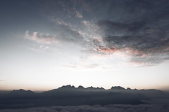 a travel adventure in the mountains (Karin Ziegler) Tags: nikon d810 fog earlymorning mountains salzburg reiteralm lofer austria f8 24mm october seaofclouds