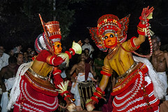 To be a God and Dance, Purely Divine. Theyyam Kerala (Anoop Negi) Tags: theyyam kerala kannur india dance form ritual ancient red dress double performance outdoor photo photography anoop negi ezee123 hindusim malayali