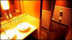 Spending a penny (will668) Tags: quarterbarandlounge londonbridgehotel londonbridgestreet toilet urinal sinks bathroom spendingapenny restroom mirror publictoilet hoteltoilet samsunggalaxys6edge