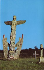 Kwakiutl Totem Pole, Alert Bay, BC (SwellMap) Tags: postcard vintage retro pc chrome 50s 60s sixties fifties roadside midcentury populuxe atomicage nostalgia americana advertising coldwar suburbia consumer babyboomer kitsch spaceage design style googie architecture