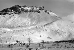 Cliff ridge, an accident (threepinner) Tags: microfilm mountainsnaps pentax mzm pentaxm 50mm f17 kodak microfine imagelink hq taisetsunationalpark mtsandan hokkaidou kamifurano hokkaido northernjapan japan