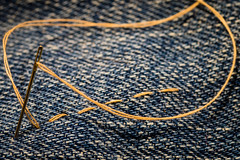 Straight Stitch, Simple Stitch (Marcy Leigh) Tags: straightstitchsimplestitch straight stitch simple thread needle fabric denim sew sewing needleandthread 116picturesin2016 macromondays macro tamron90mm