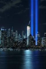 September 11th Tribute in Light, 2015 (BrianEden) Tags: nyc ny newyork newjersey jerseycity fuji unitedstates manhattan worldtradecenter 911 nj september fujifilm wtc sept11 september11 11th neverforget lowermanhattan tributeinlight tributeinlights xpro1