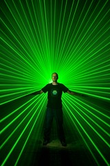 T-shirt by Xiao Yang (palateth) Tags: portrait lightpainting green night urbanexploration laser urbex lightart xiaoyang inhiu