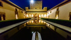 Court of the Myrtles - Alhambra (Mister Electron) Tags: gardens architecture reflections evening spain arch availablelight arches palace plaster andalucia architectural espana alhambra moorish granada moors pillars carvings nasridpalace courtofthemyrtles nikond800