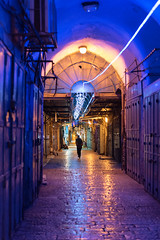 Old City Purple Alley (Warriorwriter) Tags: street light night israel alley purple palestine muslim jerusalem religion middleeast pedestrian christian arab jewish israeli oldcity levant
