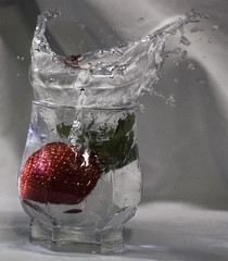 Strawberry Splash (wendyjudith65) Tags: colour macro art water fruit photoshop movement strawberry nikon action splash waterdrops masterphotographer infiniteexposure